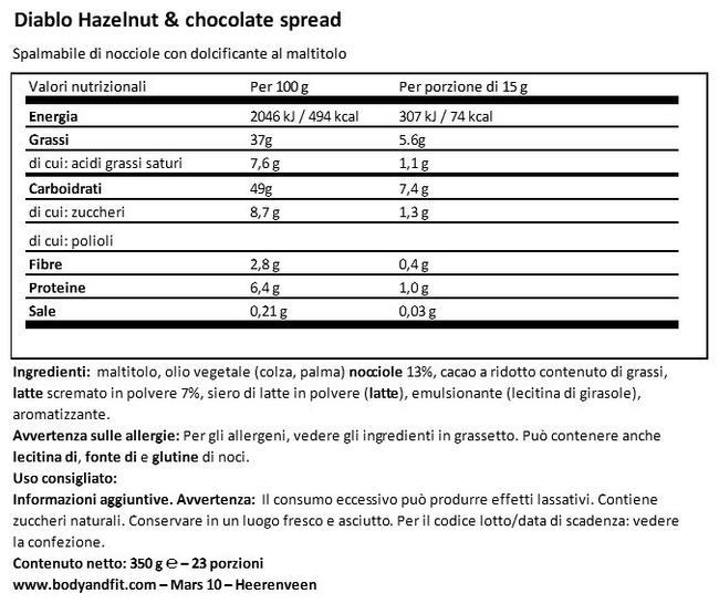 Crema Spalmabile Cioccolato e Nocciole (Senza Zuccheri Aggiunti) Nutritional Information 1