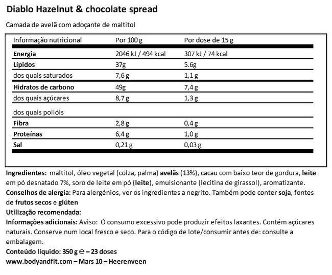 Hazelnut chocolate spread (no added sugar) Nutritional Information 1