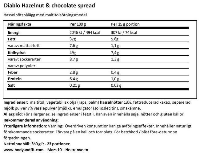 Hazelnut chocolate spread (inget tillsatt socker) Nutritional Information 1