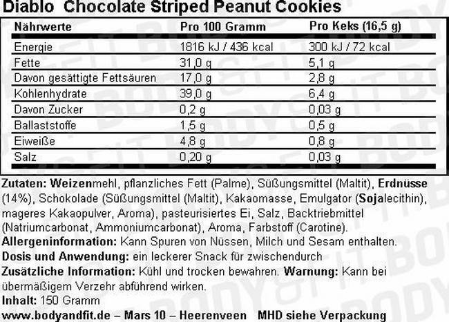 Chocolate Striped Peanuts Cookies (zuckerfrei) Nutritional Information 1