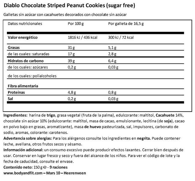 Galletas de Cacahuetes Y Chocolate (sin azúcar) Nutritional Information 1