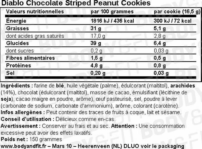 Chocolate Striped Peanut Cookies (sugar free) Nutritional Information 2