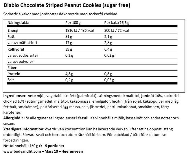 Chocolate Striped Peanut Cookies (sugar free) Nutritional Information 1