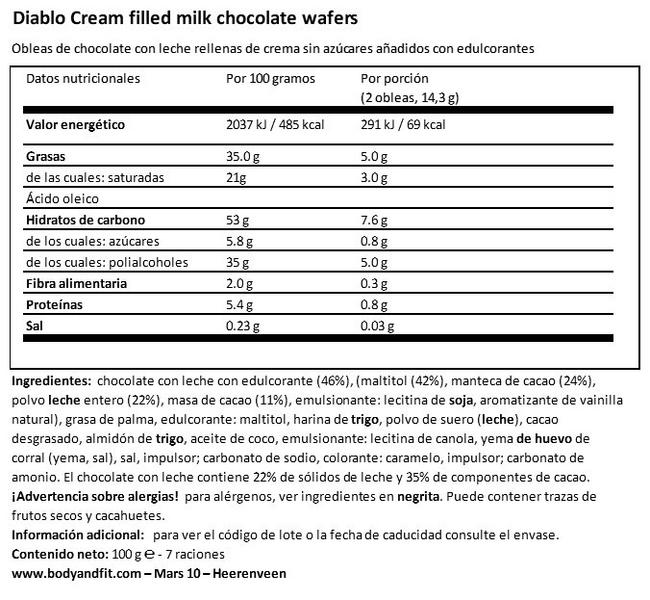 Gofres Rellenas De Crema De Chocolate Con Leche (Sin Azúcares añadidos) Nutritional Information 1