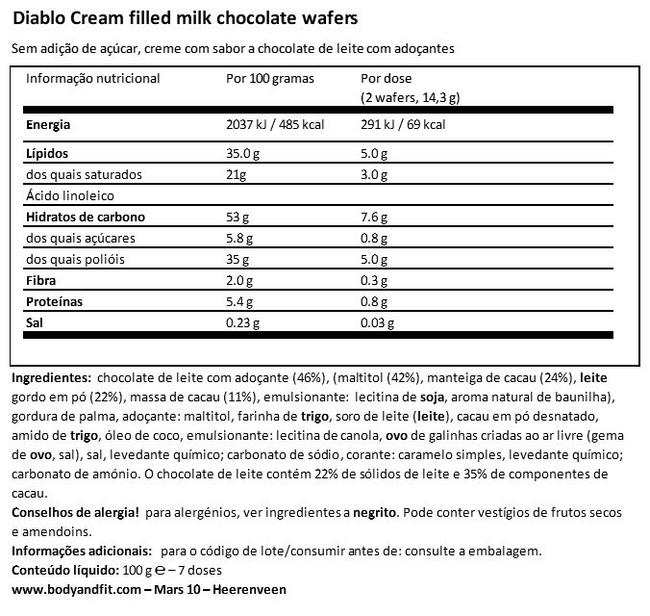 Cream Filled Milk Chocolate Wafers (no added sugar) Nutritional Information 1