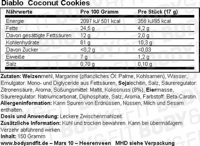 Coconut Cookies (zuckerfrei) Nutritional Information 1