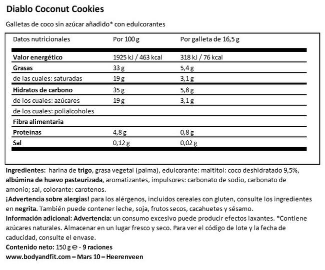 Coconut Cookies (sin azúcar) Nutritional Information 1