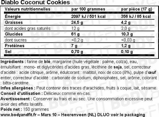 Coconut Cookies (sugar free) Nutritional Information 1