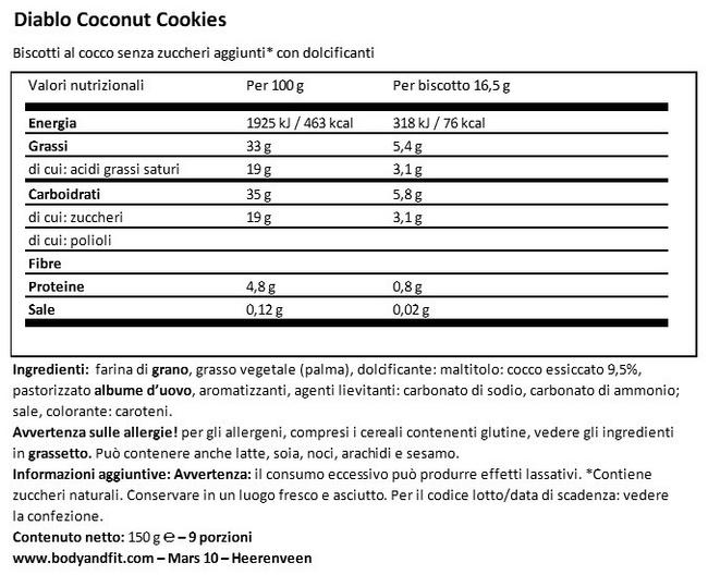 Biscotti al Cocco (senza zucchero) Nutritional Information 1