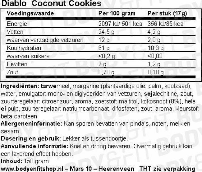 Coconut Cookies (sugar free) Nutritional Information 1