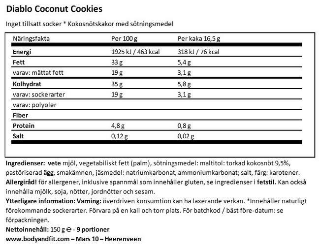 Coconut Cookies (sugar-free) Nutritional Information 1