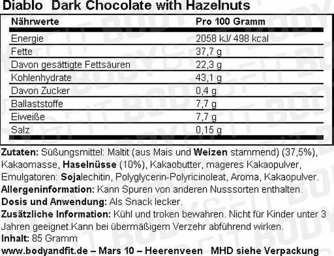 Dark Chocolate mit Haselnüssen Nutritional Information 1