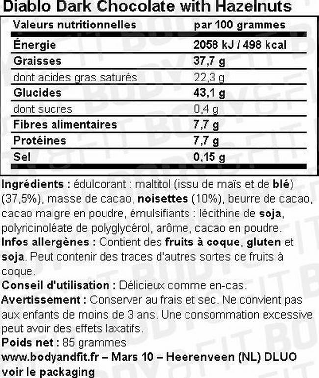 Dark Chocolate with Hazelnuts (sugar free) Nutritional Information 1