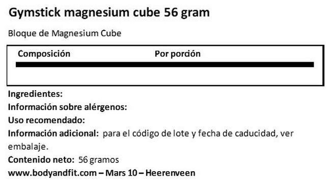 Magnesio Bloque 56 Gramos Nutritional Information 1