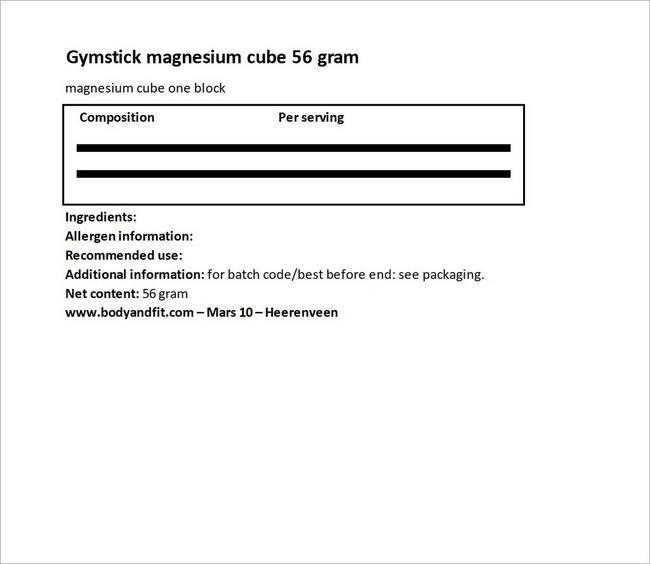 마그네슘 블록 56그램 Nutritional Information 1