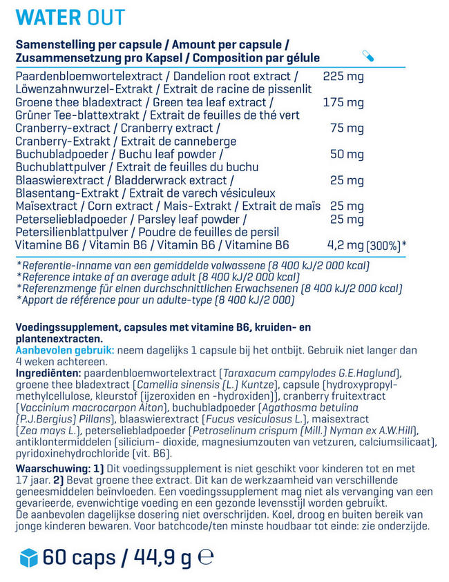 Water Out Nutritional Information 1