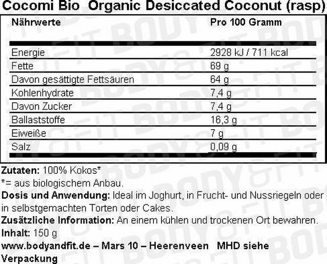 Organic Desiccated Coconut (rasp) Nutritional Information 1