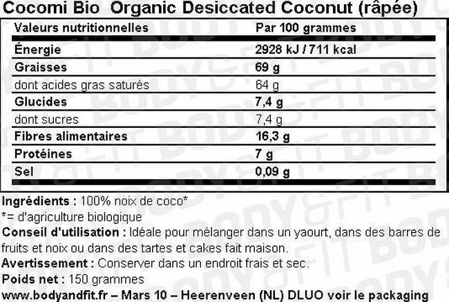 Organic Desiccated Coconut (râpée) Nutritional Information 1