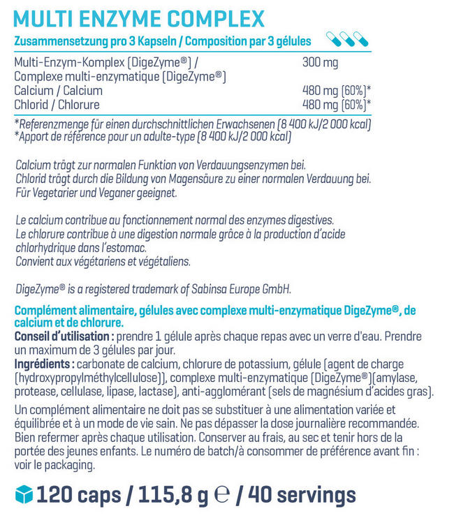 Complexe multienzymatique Multi Enzyme Complex Nutritional Information 1