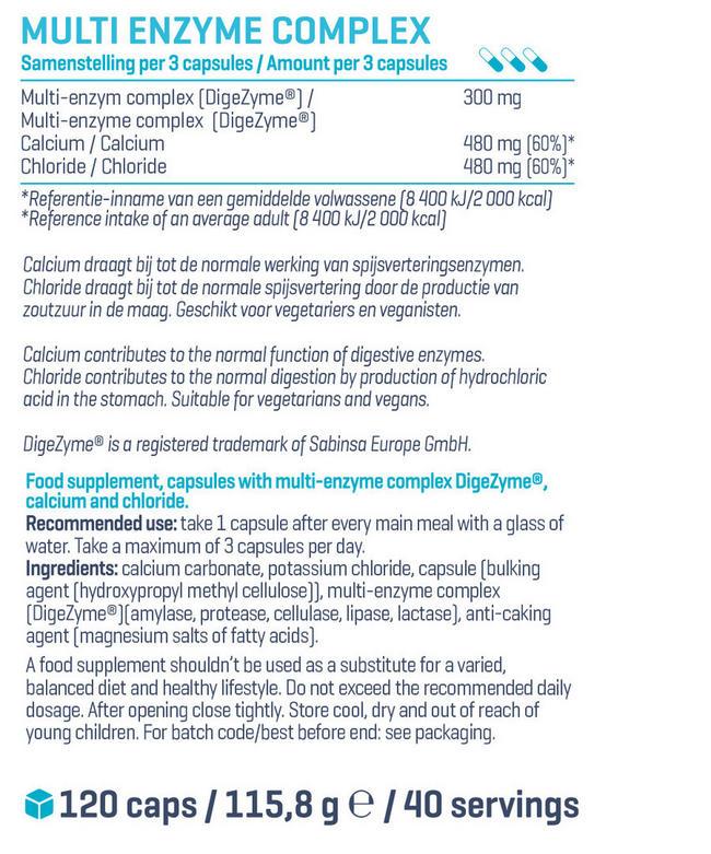 マルチエンザイム コンプレックス Nutritional Information 1