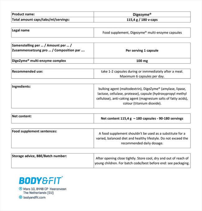 멀티 효소 복합체 Nutritional Information 1