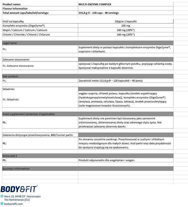 Multi-Enzyme Complex Nutritional Information 1
