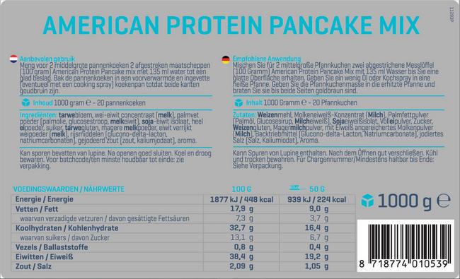American Protein Pannenkoekenmix Nutritional Information 1