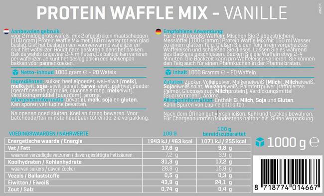 Eiwit Wafelmix Nutritional Information 1