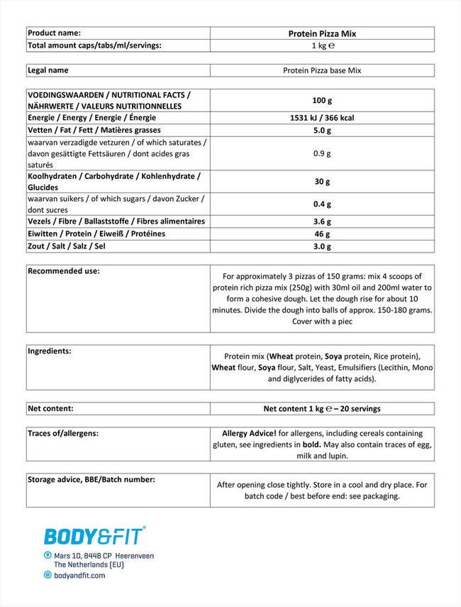 プロテイン ピザミックス Nutritional Information 1