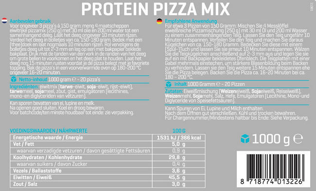 Protein Pizza Mix Nutritional Information 1