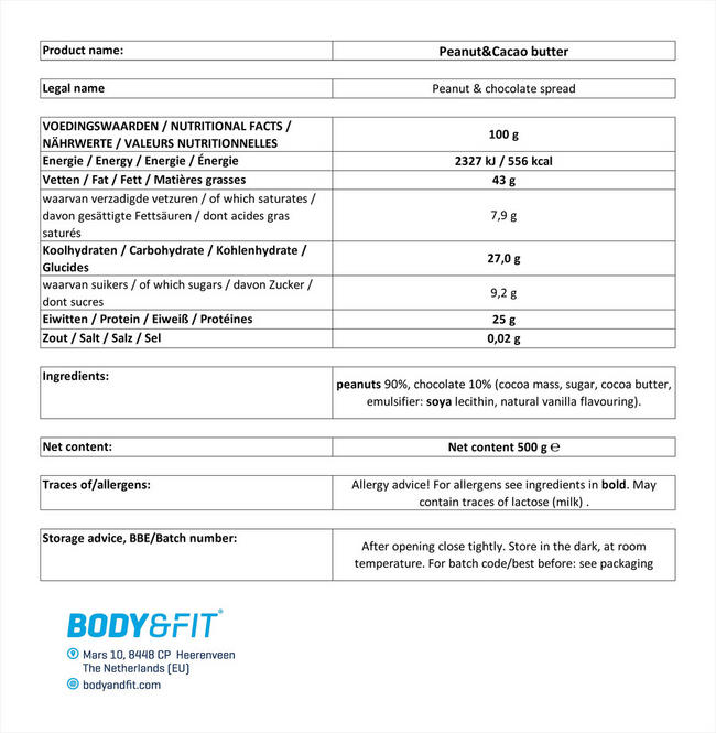 ピーナッツ&ココアペースト Nutritional Information 1