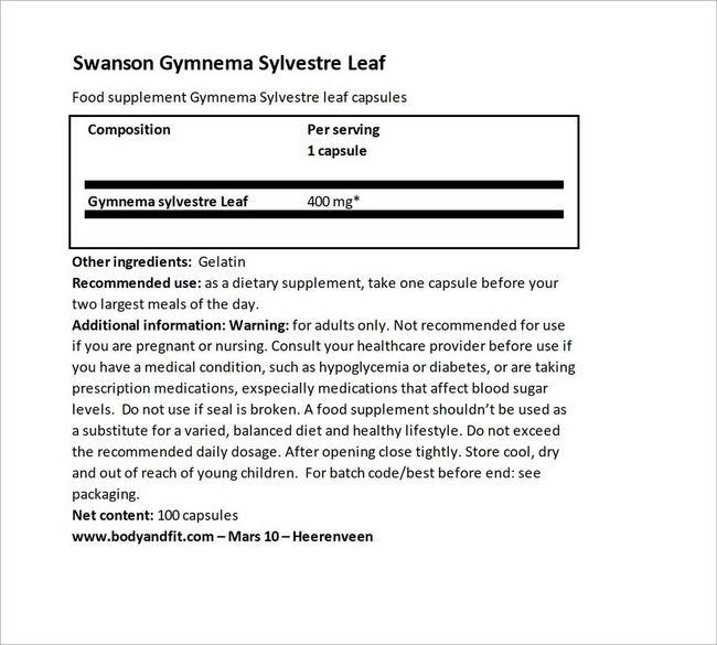 Gymnema Silverstra 400 mg Nutritional Information 3