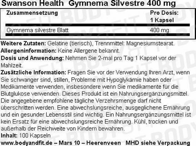Gymnema Silverstra 400 mg Nutritional Information 1