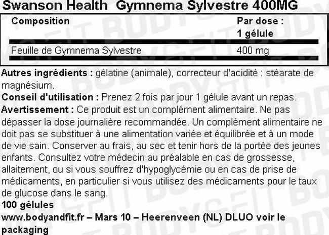 Gélules Gymnema Sylvestre 400mg Nutritional Information 1