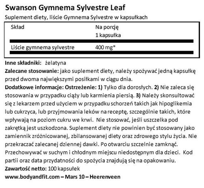 Gymnema Sylvestre 400 mg Nutritional Information 1