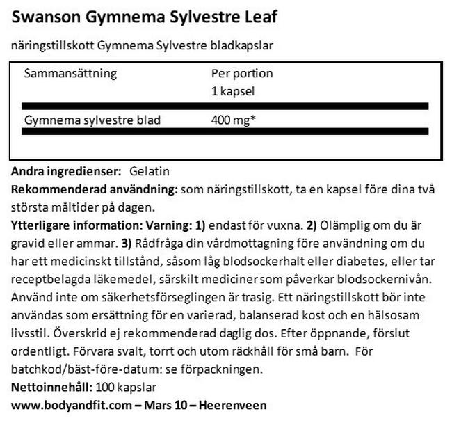 Gymnema Sylvestre 400 mg Nutritional Information 1