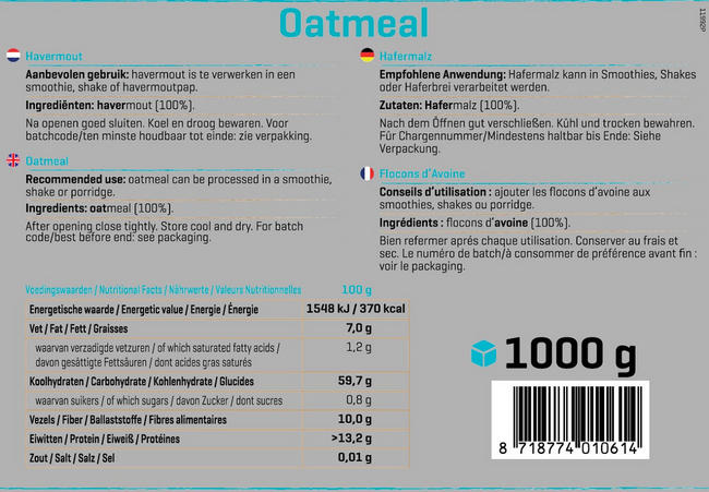 Pure Oatmeal (avoine) Nutritional Information 1