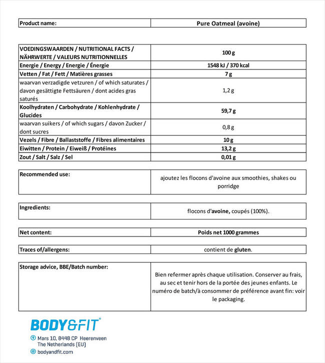 Flocons d'avoine Pure Oatmeal Nutritional Information 1