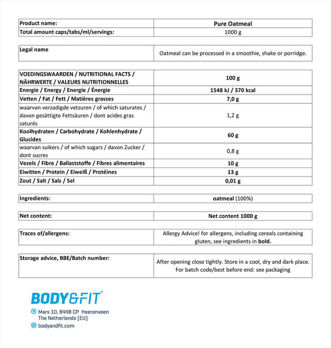 ピュアオートミール Nutritional Information 1