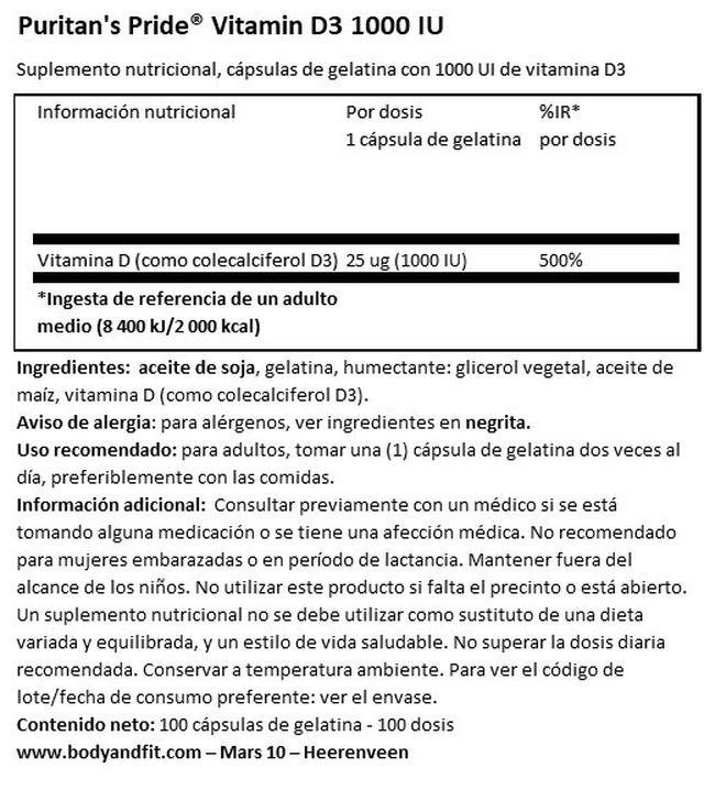 Vitamin D3 1000 IU Nutritional Information 1