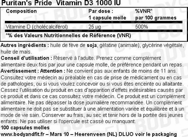 Capsules molles Vitamin D3 1000 UI Nutritional Information 1