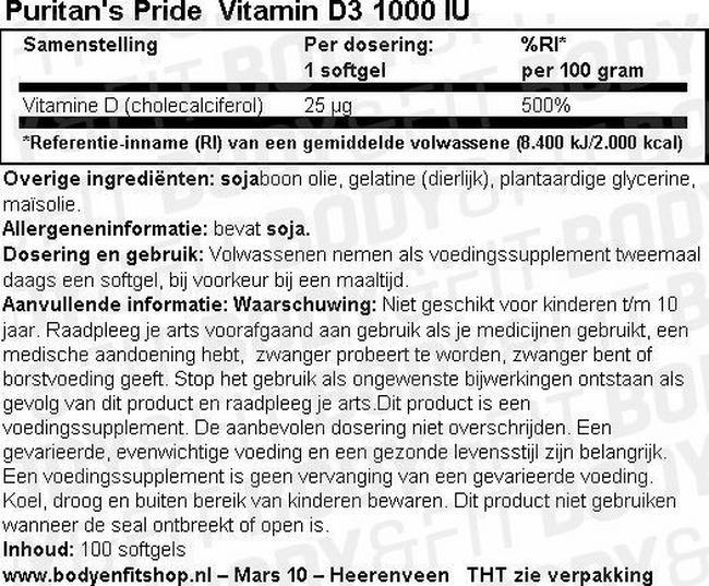 Vitamin D3 1000 IU Nutritional Information 1