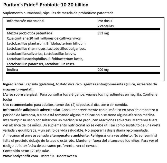 Probiotico 10 - 20 billiones Nutritional Information 1