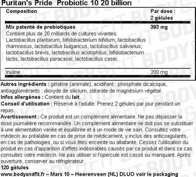 Probiotic 10 20 billion Nutritional Information 1