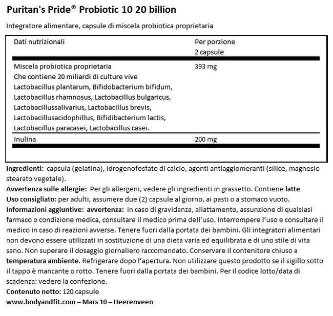 Probiotic 10 - 20miliardi Nutritional Information 1