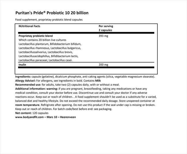 プロバイオティック 10 - 20ビリオン Nutritional Information 1