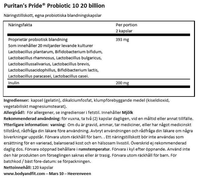 Probiotic 10 - 20 billion Nutritional Information 1
