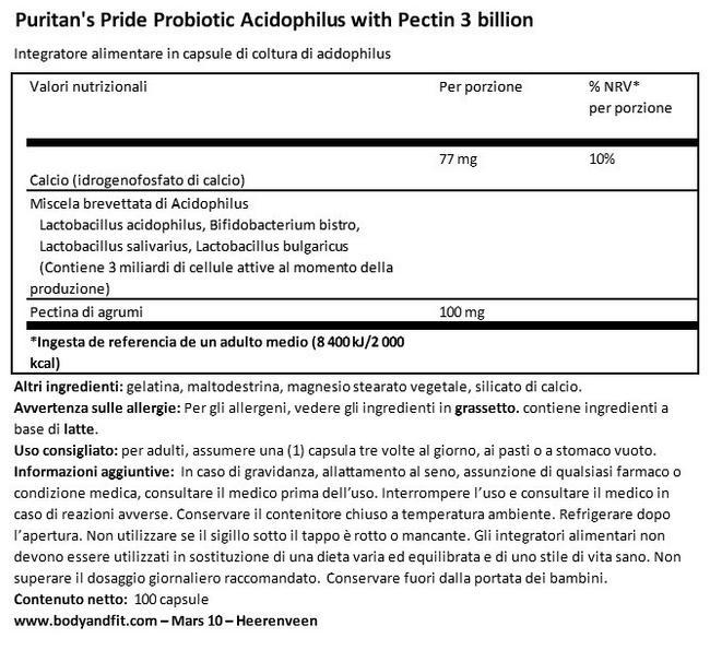 Probiotic Acidophilus con pectina 3miliardi Nutritional Information 1