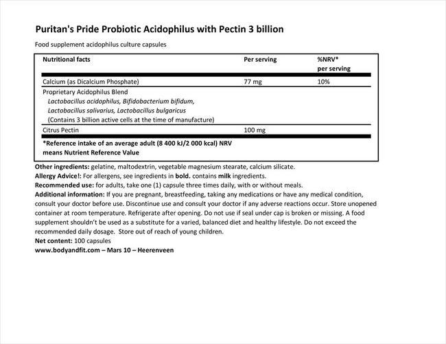 プロバイオティックアシドフィルス ウィズ 3 ビリオン Nutritional Information 1