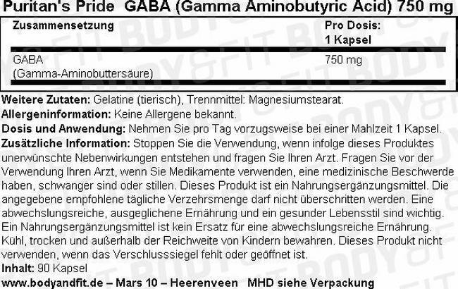 GABA (Gamma Aminobutyric Acid) 750 mg Nutritional Information 1